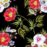 Bouquets summer flowers , watercolor, pattern seamless Stock Photo