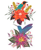 Bouquets with tropical birds, flowers,berries and leaves. Exotic flora and fauna. Vintage hand drawn vector illustration in watercolor style Stock Image