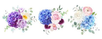 Bouquets violets, pourpres et bleus de conception de vecteur illustration libre de droits