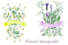 Bouquets of wildflowers with ribbons. Painted in watercolor on a white background Stock Photos
