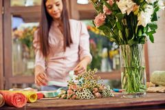 Bouquets at workplace Stock Photography