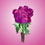 Bouquette av isolerade rosa rosor Arkivbilder
