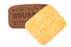 Bourbon and custard cream biscuit Stock Photos