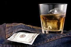 Bourbon Denim and Dollars Royalty Free Stock Photos