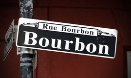 Bourbon Street. A Bourbon Street sign in the French Quarter of New Orleans, Louisiana Royalty Free Stock Image