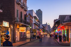 Bourbon Street at dusk Stock Images