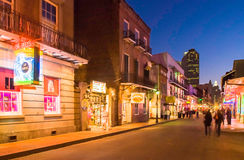 Bourbon Street at dusk Royalty Free Stock Images
