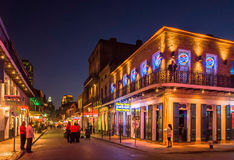 Bourbon Street at dusk stock photo