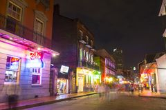 Bourbon Street in French Quarter, New Orleans. Historic Buildings on Bourbon Street between Toulouse Street and St Louis Street in French Quarter at night in New Stock Photography