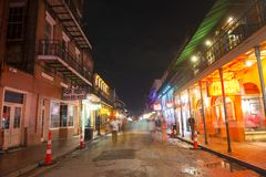 Bourbon Street in French Quarter, New Orleans. Historic Buildings on Bourbon Street between Conti Street and St Louis Street in French Quarter at night in New Stock Image