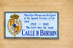 Bourbon Street Name Sign while Under Spanish Possession in New Orleans Stock Photo