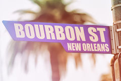Bourbon Street New Orleans Street Sign Stock Photo