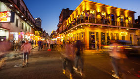 Bourbon Street at Night in The French Quarter of New Orleans, Lo Stock Images