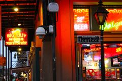 Bourbon Street. Red and yellow neon signs in the Big Easy, New Orleans Stock Photos