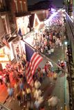 Bourbon street scene. Night view of Bourbon St stock images