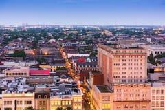 Bourbon Street Skyline. New Orleans, Louisiana, USA aerial view over Bourbon Street Royalty Free Stock Photography