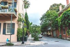 Bourbon ulica, turystyczna ulica w historycznej starej dzielnicie francuskiej Nowy Orlean obraz stock
