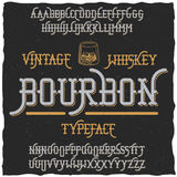 Bourbon Vintage Whiskey Typeface Poster. In vintage style of alcohol drinks vector illustration Royalty Free Stock Images