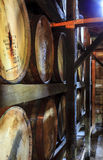 Bourbon warehouse. Bourbon barrels are aging in a warehouse Royalty Free Stock Image