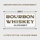 Bourbon whiskey alphabet. Retro distressed alphabet vector font. Letters and numbers. Stock Photo