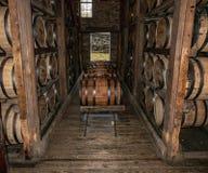 Bourbon Whiskey Being Stored Oak Barrels stock image