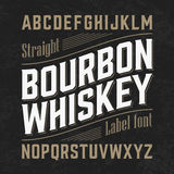 Bourbon whiskey label font with sample design Stock Image