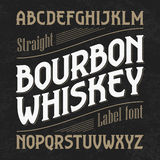 Bourbon whiskey label font with sample design. Ideal for any design in vintage style Stock Images