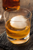 Bourbon Whiskey with a Sphere Ice Cube Royalty Free Stock Photo