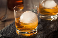 Bourbon Whiskey with a Sphere Ice Cube Royalty Free Stock Photography