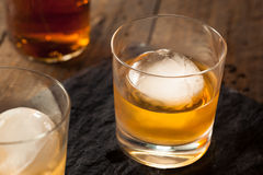 Bourbon Whiskey with a Sphere Ice Cube Royalty Free Stock Images