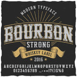 Bourbon Whiskey Typeface Poster. To use in any vintage style labels vector illustration Royalty Free Stock Images