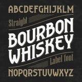Bourbon-Whiskyaufkleberguß mit Stichprobenplan vektor abbildung