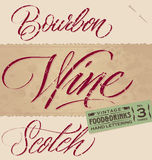BOURBON / WINE / SCOTCH hand lettering (vector) Stock Photos