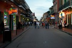 Bourbons Street in New Orleans, Louisiana, in the Evening royalty free stock photo