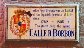 Bourbonu znak uliczny, Nowy Orlean obraz stock