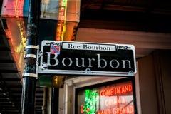 Bourbonu znak uliczny Nowy Orlean Obrazy Royalty Free