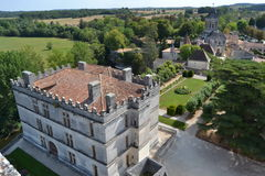 Bourdeilles castle from the keep of the medieval castle Royalty Free Stock Photo