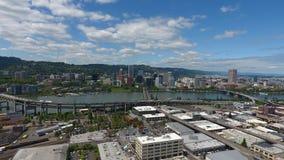 Bourdon aérien de Portland Orégon d'horizon du centre de ville ensoleillé Images libres de droits