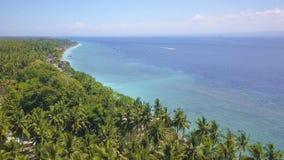 Bourdon aérien dessus sur l'île tropicale de paradis de l'Asie avec la jungle de littoral de végétation de palmiers avec un beau  Photographie stock libre de droits