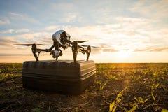 bourdon avec le vol d'appareil photo numérique en ciel au-dessus de champ sur le coucher du soleil Images stock