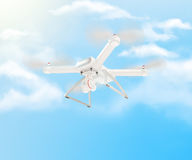 Bourdon blanc moderne planant dans un ciel bleu lumineux 3d Photos stock