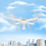 Bourdon blanc moderne planant dans un ciel bleu lumineux 3d Images libres de droits
