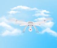 Bourdon blanc moderne planant dans un ciel bleu lumineux 3d Image stock