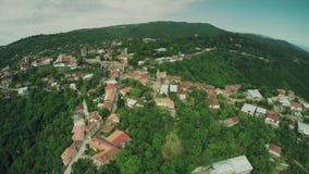 Bourdon caucasien 4k de waterwall d'animaux de la Géorgie de nature de beauté de rivière de montagnes de Caucase d'église de chât banque de vidéos