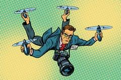 Bourdon de quadcopter de journaliste de personnes illustration stock