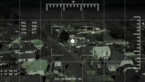 Bourdon/hélicoptère/UAV dépistant la longueur d'antenne du voisinage 4k de recherche
