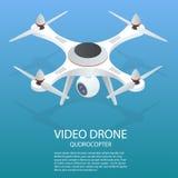 Bourdon isométrique Bourdon ENV Illustration isométrique du quadrocopter 3d de bourdon Bourdon avec l'icône d'appareil-photo d'ac Photos libres de droits