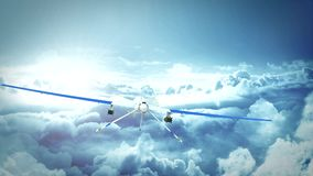 Bourdon prédateur militaire volant au-dessus des nuages illustration libre de droits