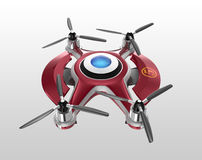 Bourdon rouge, un quadrocopter pour emballer au sol Images stock