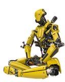 Bourdon superbe de robot jaune méga faisant la vue de côté de yoga à un arrière-plan blanc